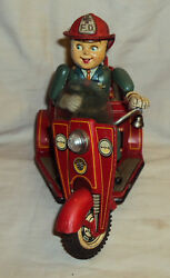 Vintage Old Nomura Tin Japan Fire Tricycle Fd No.3 Fire Dept Tinplate Toy 1950