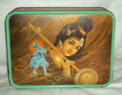 Vintage Sweet And Toffee Tin Litho Box Circa 1960's Rare Collectibles