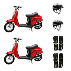 Razor Pocket Mod Electric Retro Scooters 2 Pack + Helmets + Elbow And Knee Pads