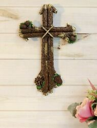 Rustic Western Rugged Tree Logs With Festive Pine Cones Wall Cross Decor Plaque