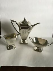 Vintage Towle Mary Chilton Sterling Demi Tea Coffee Set Of Three C1920andrsquos Sold B