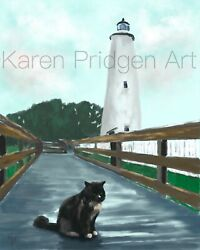 ACEO ATC Art Card Painting Print Signed Cat Cats Kitten Ocracoke Lighthouse