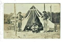 Rppc Camp Roosevelt Sign Usa Flag Tent Soldier Rough Riders Photo Postcard