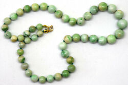 Antique Chinese Natural Jadeite Jade And 14k Gold Clasp Necklace 15.5 Long