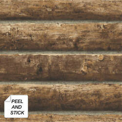 Peel And Stick Log Cabin Self Adhesive Removable Wallpaper- 20.5 W X 18' L Roll