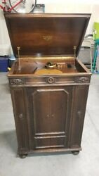 Victor Victrola Orthoponic Credenza Phonograph With Albums Full Of Records.