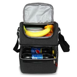 Adult Lunch Box Insulated Lunch Bag Large Cooler Tote Bag for Men Women Black $36.99