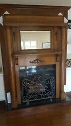 Victorian Oak Antique Fireplace Mantle With Tall Columns And Mirror