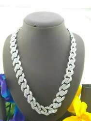 15 Mm Wide Men's Unique Very Large Cuban Link Chain 14k White Gold Plated Silver