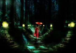 Oil Painting Handpainted On Canvas A Little Monk Walk On The Road At Night