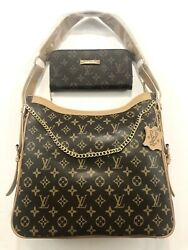 Designer inspired leather handbag chain with Wallet Brown $149.99