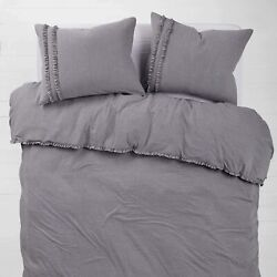 Dormify Soft Ruffle Jersey Duvet Cover and Sham Bed Set - Dorm Room Bedding Gre