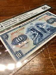 Collectible Money Banknote Germany. 10 Mark. 1948. Graded Pmg 66 S/n H6141393a