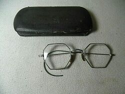 Antq Silver Wire Rim Eyeglasses With Silver Octagon Lens Frames Civil War Style