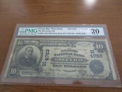 Large Size Wisconsin National Currency 10 Note Mccartney Nb Green Bay Pmg 20