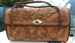 Hand Tooled Leather Handbag Made In Mexico Vintage