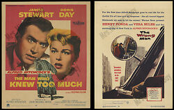 2- Alfred Hitchcock 1956 Movie Posters The Wrong Man And The Man Who Knew Too Much
