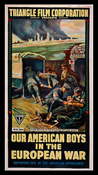 Our American Boys In The European War ☆ Red Cross Ambulance Movie Poster 3 Sheet