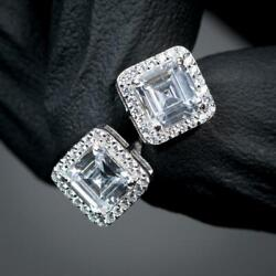 14k White Gold Plated Men's 2 Ct Square Halo Stud Earrings 925 Sterling Silver