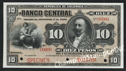 Colombia Banknote Specimen Cat No S369s