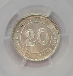 Pcgs-ms65 1889h Mauritius 20cents Silver Only Two Finer Bu Full Luster