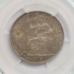 Pcgs-ms63 1879a French Cochin China 20cents Only One Finer Toned Bu