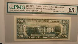 20 1981 Frn Offset O/p Back Error W/mismatched Serial Numbers Pmg 65epq R7+