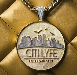 Menand039s 1 Ct Round Sim Diamond Menand039s Double Sided City Life Entertainment Pendant