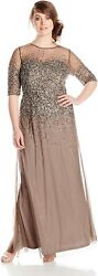 Adrianna Papell Womenand039s Plus-size Beaded Illusion Gown