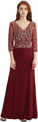 Meier Women#x27;s Mother of The Bride Quarter Length Sleeves Lace Sheath Evening For $316.34