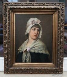 Camilla Zach-dorn 1859-1940 - Portrait Young Girl With Hood - Magnificent