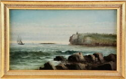 George Hathaway Owls Head Maine Oil On Board Lighthouse Painting Free Shipping