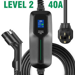 Level2 Ev Charger 40a 240v 25ft Charging Cable, Portable Plug-in Evse Nema 14-50