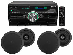 Dv4000 4000w Bluetooth Home Theater Dvd Receiver+4 5.25 Black Ceiling Speakers