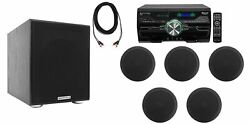 Dv4000 4000w Home Theater Dvd Receiver+5 5.25 Black Ceiling Speakers+subwoofer