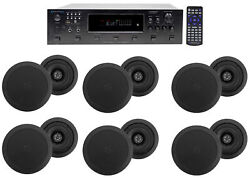 6000w 6 Zone, Home Theater Bluetooth Receiver+12 5.25 Black Ceiling Speakers