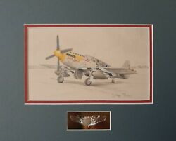 Original Aviation Pencil Drawing P-51b Mustang 'bald Eagle' By Stephen Brown