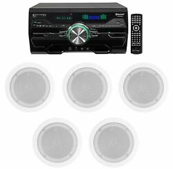 Dv4000 4000w Bluetooth Home Theater Dvd Receiver+5 5.25 White Ceiling Speakers