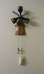 Vintage West German Wall Hung Windmill With Copper Bells And Weights