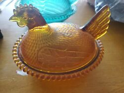 Indiana Glass Amber Hen On Nest Covered Candy 7 Inch