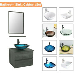 24 Bathroom Vanity Glass Ceramic Sink Combo Wall Mounted Set W/ Drawers Cabinet