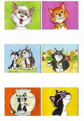 6 CUTE Suzy Spafford WHISKERS 1 1 2quot; x 1 3 4quot; CAT KITTY STICKERS USA MADE #13