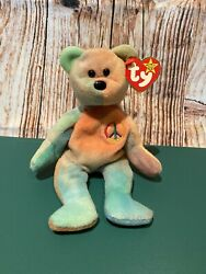 Ty Beanie Baby Peace The Bear 1996 Beanie Baby/ No Errors/ Mint Condition