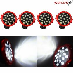 4x 7'' Led Pods Work Light Bar Red Round Driving Fog Headlight Truck Off Road
