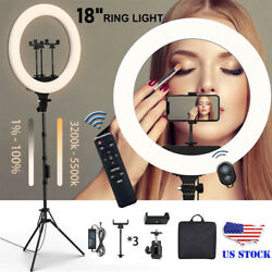 18and039and039 Led Smd Ring Light Kit With Stand Dimmable 5500k For Camera Makeup Phone