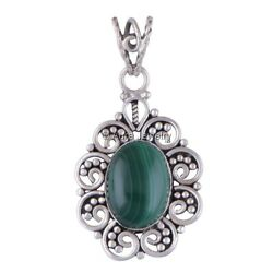 Malachite Gemstone Solid 925 Sterling Silver Pendant Necklace Jewelry P1802-3