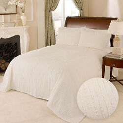 100 Cotton Tufted Chenille Stripe Bedspread Bedding Twin Full Queen King Ivory