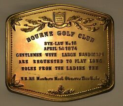 Victorian Style Pressed Copper Plaque Sign- Bourne Golf Club- Long Holesmembers