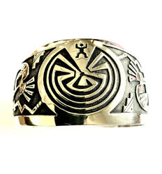Hyson Craig Navajo Hand Made Sterling Silver Over Lay Man In The Maze Bracelet