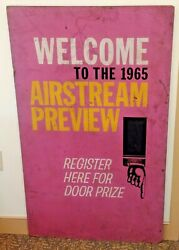 Vintage 1965 Airstream Camper Preview Event Field Sign 28x48 Advertising 1/1
